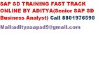 Aditya Sapsd - sap sd advanced fast track online training by industry expert Aditya, having vast experience on sap sd,mm,pp,wm